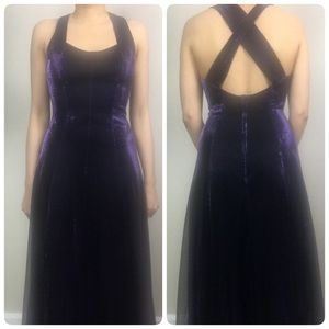 Vintage 1980s purple shimmer party maxi dress